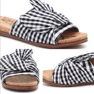 Sam Edelman Black + White Gingham Slide On Sandals